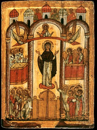 Icon of theotokos pokrov naive